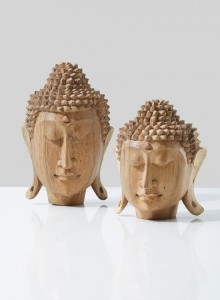 Teak Buddha Heads - Zen Home Decor - Serene Spaces Living